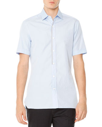 Short-Sleeve Poplin Shirt with Grosgrain Trim, Pale Blue