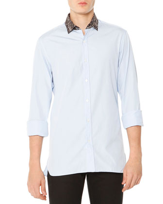 Granite-Print-Collar Poplin Shirt, Pale Blue