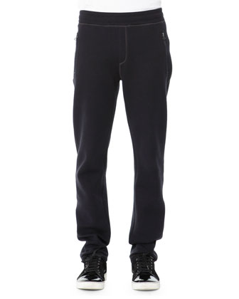 Neoprene Sweatpants, Navy Blue