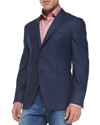 Donegal Two-Button Jacket, Blue