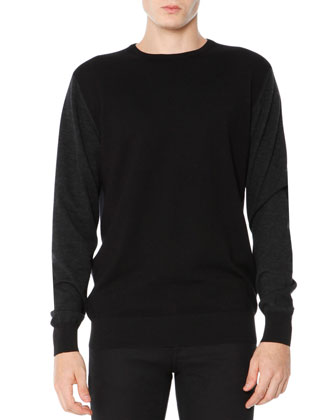 Colorblock Crewneck Sweater, Black