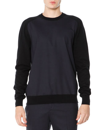 Pinstripe Pullover Sweater, Black