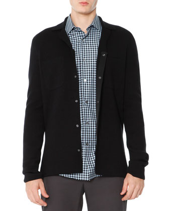 Snap-Front Cardigan Sweater, Black