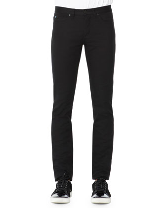 Textured Five-Pocket Pants, Black