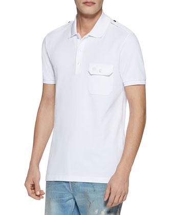 Military Cotton Stretch Polo, White