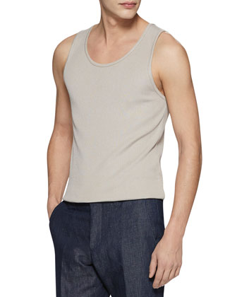 Rib Silk-Knitted Tank Top, Oatmeal