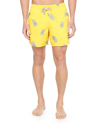 Mistral Embroidered Pineapple Swim Trunks, Yellow