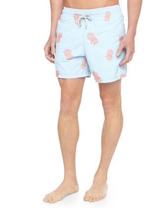 Mistral Embroidered Pineapple Swim Trunks, Light Blue