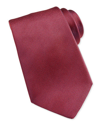 Solid Woven Silk Tie, Red