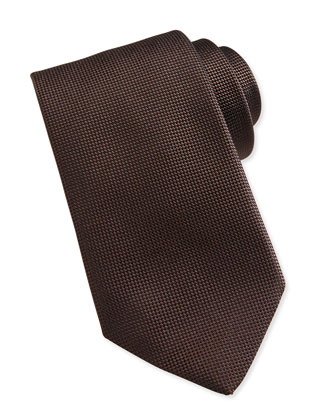 Solid Woven Silk Tie, Brown