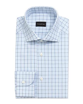 Box Plaid Dress Shirt, Blue on White