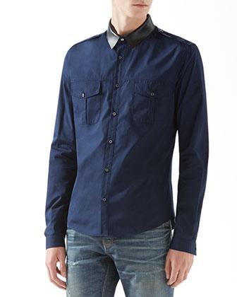 Cotton Poplin Duke Shirt with Leather Collar