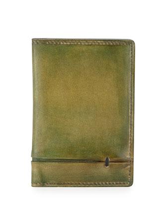 Bi-Fold Leather Card Case, Green
