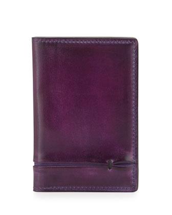 Bi-Fold Leather Card Case, Purple