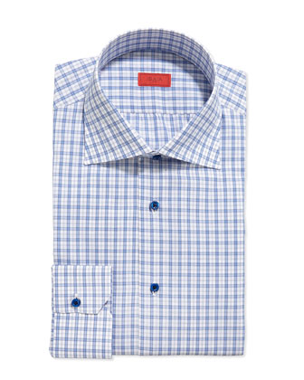 Woven Check Dress Shirt, Blue/White