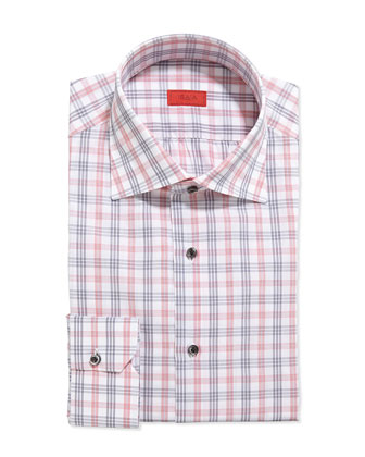 Woven Large Check Dress Shirt, Pink/Gray