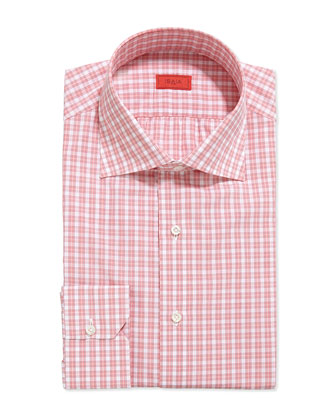 Woven Box Check Dress Shirt, Pink