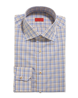 Tattersall Check Dress Shirt, Navy/Yellow/Blue