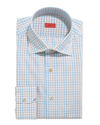 Double-Graph Check Dress Shirt, Brown/Aqua