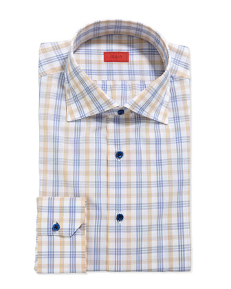 Woven Large Check Dress Shirt, Yellow/Blue