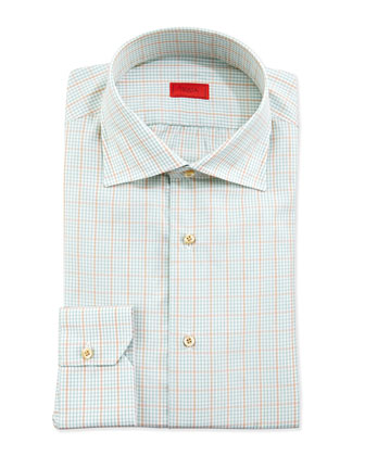 Graph-Check Dress Shirt, Seafoam/Gold
