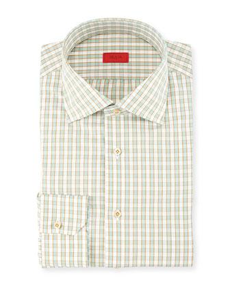 Woven Box Gingham Dress Shirt, Seafoam/Gold