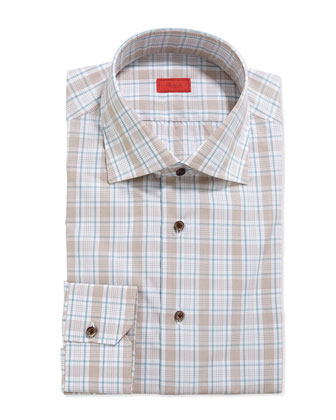 Graph and Windowpane Check Dress Shirt, Brown/Aqua