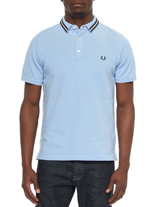 Tipped-Collar Oxford Polo Shirt, Smoke Blue