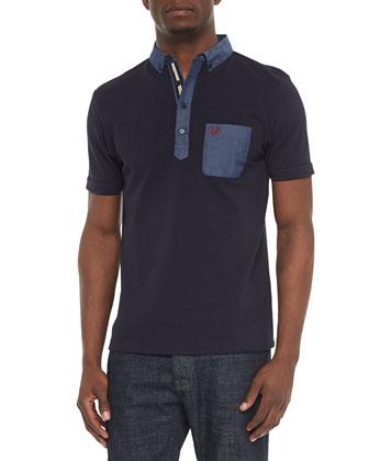 Contrast-Pocket Woven Polo Shirt, Navy