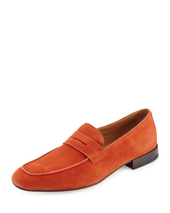 Suede Penny Loafer, Orange