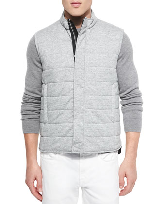 Quilted Zip-Front Vest, Gray