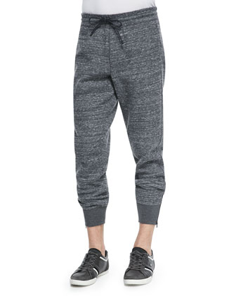 Zip-Leg Jogger Pants, Dark Gray