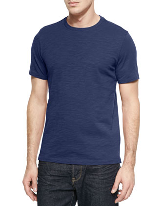 Slub Crewneck Short-Sleeve Tee Shirt, Blue