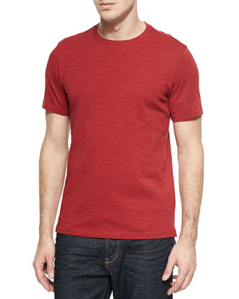 Slub Crewneck Tee Shirt, Red