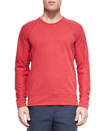 Sueded Lightweight Fleece Crewneck Sweater, Red