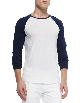 Slub Long-Sleeve Baseball Tee, White/Navy