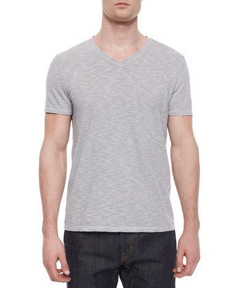 Feeder Stripe V-Neck Tee, White/Gray