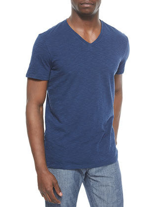 Short-Sleeve Feeder Striped Tee, Blue/Navy