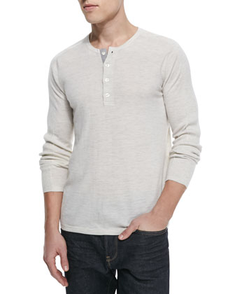 Lux Wool-Cashmere Henley, Heather White