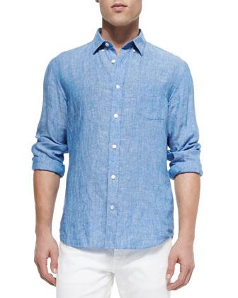 Linen Button-Down Shirt, Blue