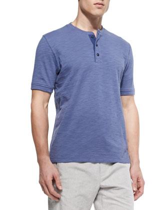 Slub Short-Sleeve Henley, Blue