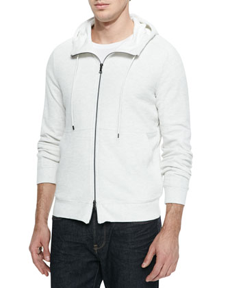 Slub-Knit Thermal Zip Hoodie, White