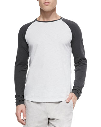 Slub Long-Sleeve Baseball Tee, Gray/Olive