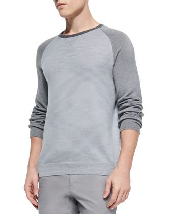 Colorblock Raglan Crew Sweater, Gray