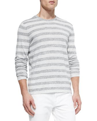 Striped Crewneck Sweater, White/Gray