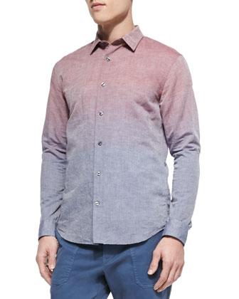 Ombre Linen/Cotton Shirt, Red/Blue