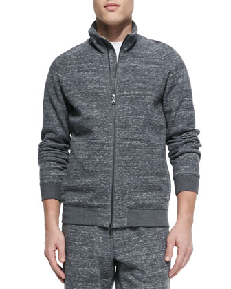 Cotton-Blend Track Jacket, Dark Gray