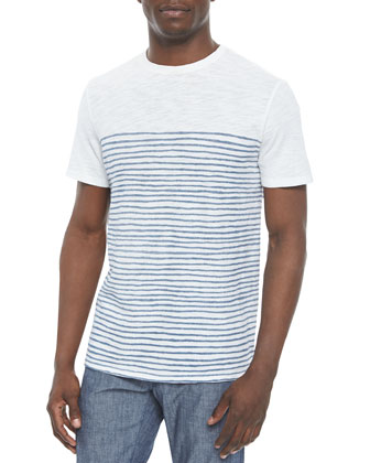 Short-Sleeve Printed Striped Tee, White/Blue