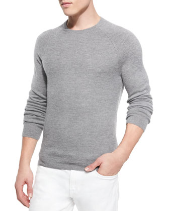 Cashmere Raglan Crewneck Sweater, Gray