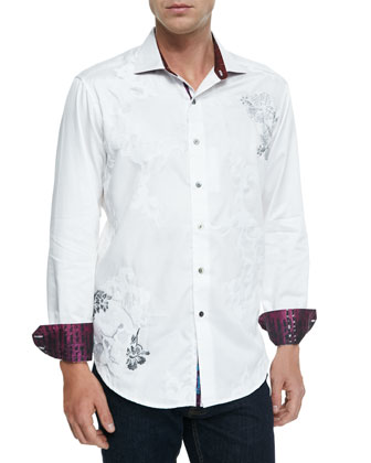 Sacred City Embroidered Sport Shirt, White